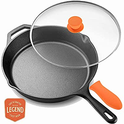 "Legend Cast Iron Skillet with Lid | Large 10"" Frying Pan with Glass Lid & Silicone Handle for Oven, Induction, Cooking, Pizza, Sauteing, Grilling 