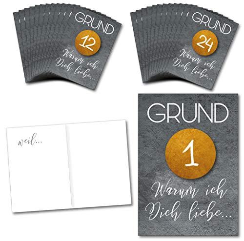 Adventskalender mit 24 Karten/Gutscheine oder Liebesbeweise und 24 edlen Aufklebern in Gold