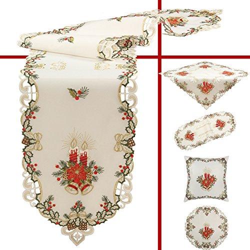 Quinnyshop Noël Bougie Clochette Surnappe 85 x 85 cm Carré Polyester, Blanc