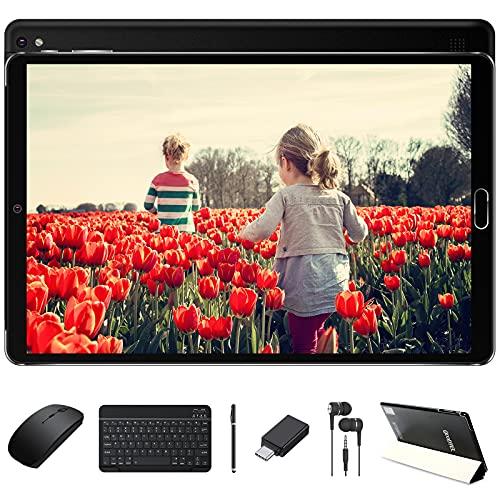 Tablet 10 Pollici 4GB RAM 64GB ROM Android 10 Pro Tablets con Processore 1.6GHz Batteria 8000mAh | Doppia Fotocamera | WiFi | HD IPS | Bluetooth | MicroSD 4-128GB, con Tastiera Bluetooth e Mouse, Nero