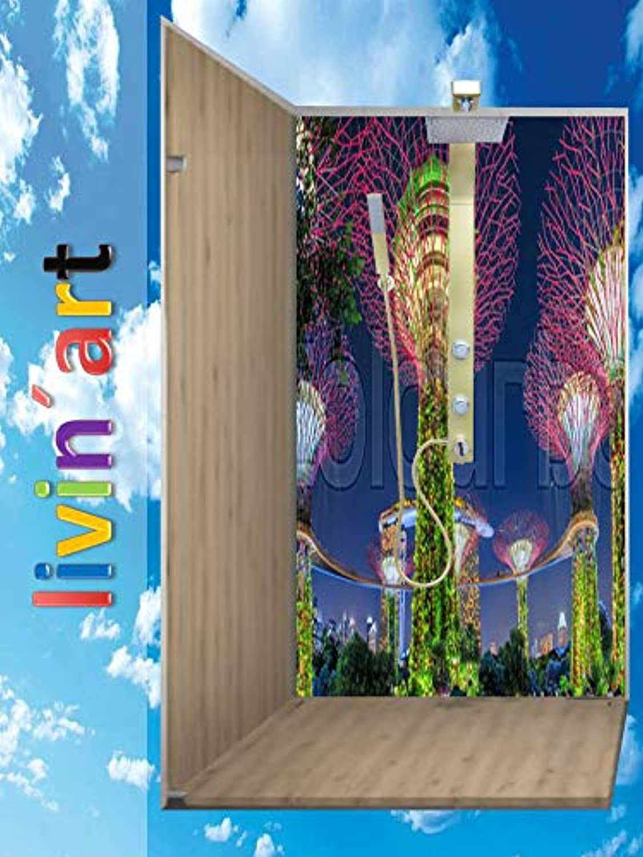 Original LivinART Duschrückwand, Badrückwand, Rückwand - Singapur Marina Bay Sands, Strand Meer, ZEN Spa, 1 Platte mit Wunschgre bis 90x200cm, kostenloser Zuschnitt auf Ihre exakten Wunschmae