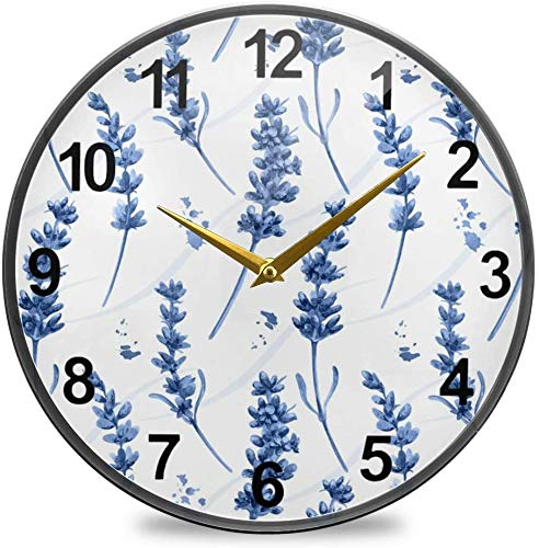 Fairy Flowers Bathroom Clock Blue Lavender Wall Clock 12 Inch Non-Ticking Silent Clocks for Living Room Decor