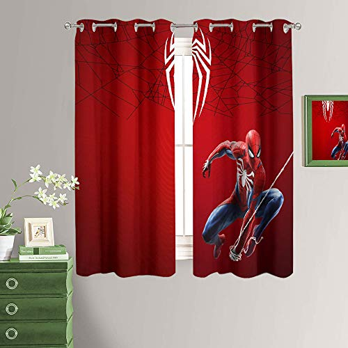 Movie Spiderman Kids/Girls Room Window Curtain Thermal Insulated Blackout Curtains with Grommet for Bedroom 42x54 Inch