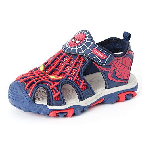 WQLESO Spider-Man Sandalen Kinder Sommer Outdoor Jungen und Mädchen geschlossene Zehe Leichte atmungsaktive Trekking-Strand-Schuhe,Blue B-36