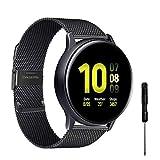 YHC Correas Compatible con Samsung Galaxy Watch Active 2,Pulsera de Reloj Tejida de Acero Inoxidable de 20mm para Galaxy Watch 42mm/Gear S2 Classic/Gear Sport (Negro)