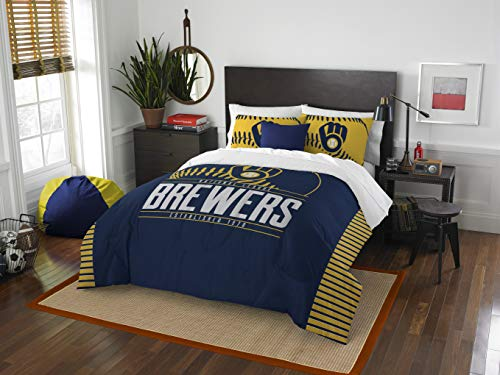 MLB Milwaukee Brewers Full Comforter and Sham Set, Full/Queen