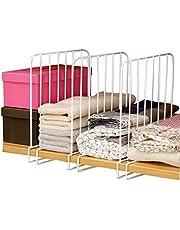 Inditradition Wardrobe Shelf Divider, Cloth Organizer | Wardrobe Closet Separator (Metal, White) (Pack of 3)