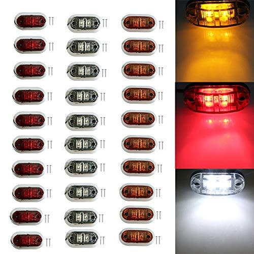 PolarLander 10pcs Rouge + 10pcs Jaune + 10pcs Blanc 12V 24V Blanc LED Côté Avant Arrière Marqueur de Remorque de Camionnette Van Caravane Petites Lumières Bord Lumières Car Styling Rouge
