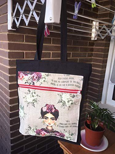 El Mundo de Lúa by Anamae - Bolso Tote Bag Frida base Negra con Moned