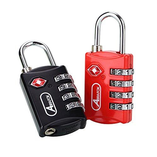 ABRFOXセットTSAロック 南京錠4桁ダイヤルロック 4桁式TSAロック南京錠とワ 安全搬送局は、旅行用の荷のスーツケー、自転車キー合わせた金製の荷のスタを認定した(ブラック+レッド)