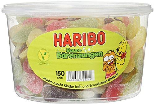 HARIBO - Bärenzungen - Weingummi - Fruchtgummi - Box mit 150 Stück