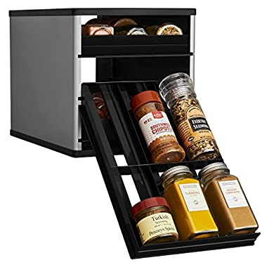 YouCopia Original SpiceStack 18-Bottle Spice Organizer with Universal Drawers, Silver