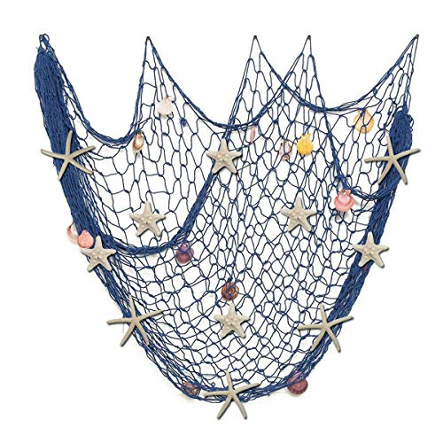 Fangoo 79 x 59 inch Nature Fish Net Wall Decoration with Sea Shells and 10 pcs Natural Starfish Mediterranean Style Decor Wall Decoration