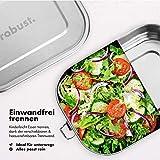 robust.® 1400 ML Edelstahl Brotdose mit Göffel - Die Lunchbox Edelstahl ist 100% Auslaufsicher, Gefrierfest & Ofenfest! - Plastikfreie Bento Box Edelstahl, Nachhaltige Brotdose Edelstahl - 3