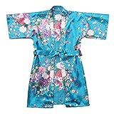 Arystk Baby Kid Girls Sleepwear Toddler Short Sleeve Floral Silk Satin Kimono Robes Bathrobe Clothes Light Blue