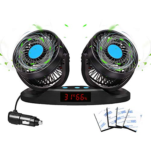 Car Fans 12V Vehicle Fan, 5inch Truck Cooling Fan with LED Display Temperature &Humidity, 12 Speeds and 360 Rotatable for Car Truck Van SUV RV Boat Auto Vehicles Golf