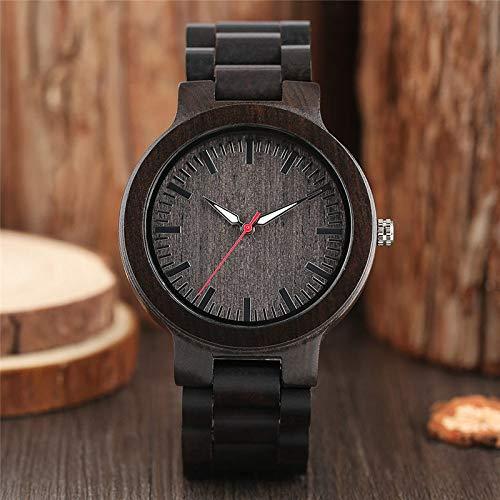 RWJFH Reloj de Madera Reloj de Cuarzo para Hombre de diseño Natural de ébano Completo, Cierre de Pulsera, Puntero Rojo Blanco, Regalo de Moda Informal