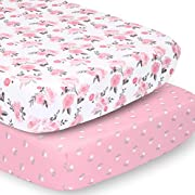 The Peanutshell Crib Sheet Set for Baby Girls | Pink Roses & Ditsy Floral | 2 Pack Set