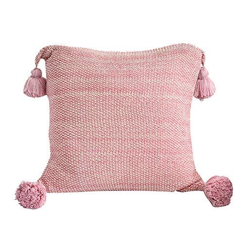 Ancoree Funda de Almohada de Punto de Algodón Decorativo con Flecos Cubierta de Cojín con Tassels Cubiertas de Almohada Cuadradas Cálidas para el Coche de la Cama Couch, 45X45CM (Pink)