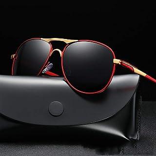 LVYI - Polarizadas Conductor piloto de conducción Espejo Gafas de Sol de los Hombres de Sapo Espejo Retro Marco Grande Gafas de Sol del