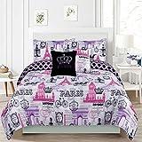 HowPlumb Bedding Queen 5 Piece Girls Comforter Bed Set, Paris Eiffel Tower London Pink and Purple