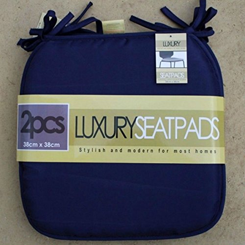 Luxury Garden, Dining Chair Foam Cushions Tie On Seat Pads in set of 2,4,6 or 8 , (Pack of 2, Navy)