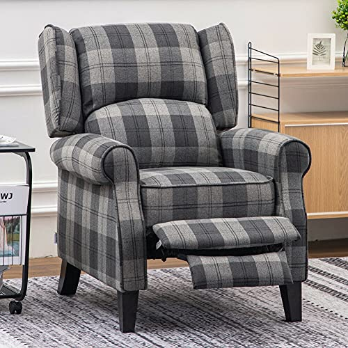 BiYeer Grey Sofa Tartan Fabric Armchair Fireside Sofa Recliner Soft Sleeper Lounge Chair
