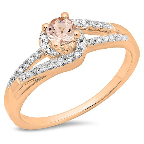 Damen Ring 14 Karat Rotgold Rund Schnitt Morganite Diamant Twisted Verlobungsring