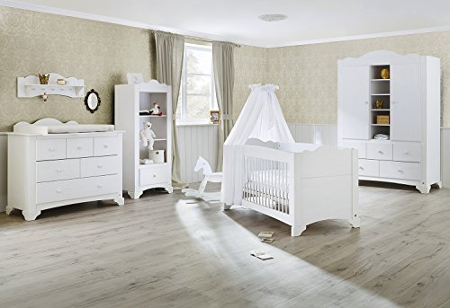 Pinolino 101642bg 3 pièces Largeur, lit bébé, commode avec table à langer et grande armoire en pin massif lasuré blanc, 140 x 70 cm