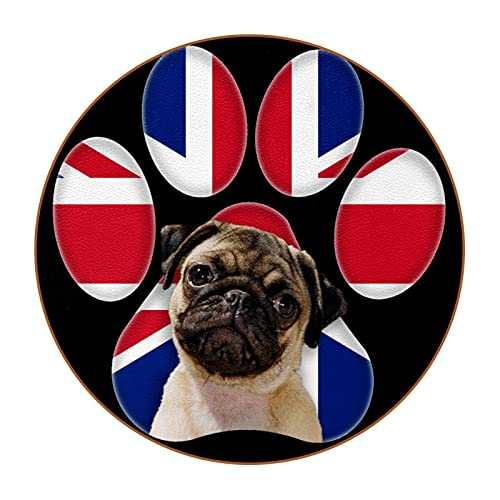 UK Dog, 6Pcs Round Drink Coasters Tabletop Protection Mat for Cups, Office, Kitchen Non-Slip Non-Fade
