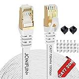 Câble Ethernet 20M Cat7 Câble réseau Plat Haut Débit Blindé RJ45 10Gbps 750MHz SFTP 8P8C Câbles de Connexion Patch pour Routeur,Switch,TV Box - 20 Mètres Blanc - avec des Cordon Clips