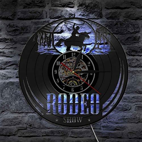 wttian Freedom Rider Rodeo Guy Reloj de Pared de Pared Wild Rodeo Life Cowboy Disco de Vinilo Reloj de Pared Vintage Western Reloj de Montar Ecuestre