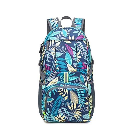 35L Ultra Lightweight Daypack, Small Hiking Rucksack, Foldable Backpack, Outdoor Water Resistance Packable Daypack for Travel Hiking Cycling Sport (Blue Print)