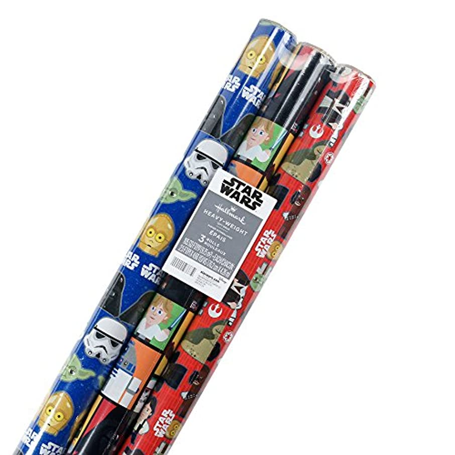 Hallmark Star Wars Wrapping Paper with Cut Lines (Pack of 3, 105 sq. ft. ttl.)
