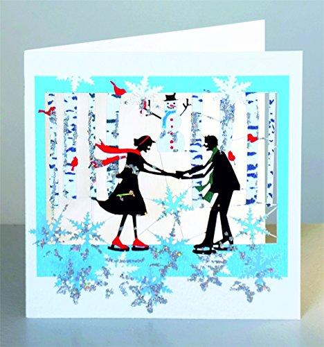 Weihnachten Glitter Laser Cut Karte 3D Grußkarte Schlittschuh Laufen 15x15cm