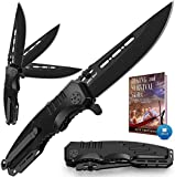 Spring Assisted Knife - Pocket Folding Knife - Military Style - Boy Scouts Knife - Tactical Knife - Good for Camping Hunting Survival Indoor and Outdoor Activities Mens Gift 6681