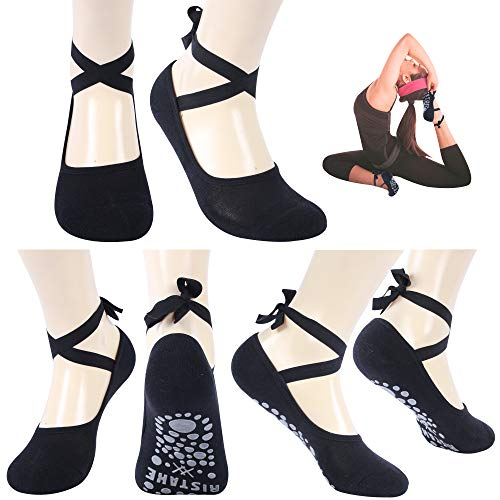 Yoga Socks for Women, Ristake Girls Ladies Black Cushioned Non Slip Anti Skid Sticky Grippers Socks with Grips for Yoga, Pilates, Barre, Ballet, Dance, Home, Hospital, Best Cycling Socks Washable