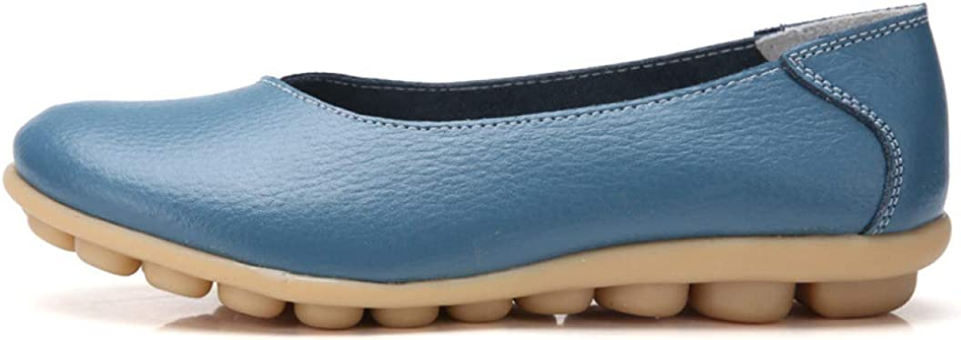 Women's Classic Leather Loafers Rubber Sole Slip On Walking Flats Casual Moccasin Boat Shoes