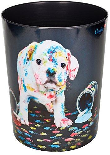 Läufer 26663 Papierkorb Bunter Hund, 13 Liter Mülleimer, perfekt für das Kinderzimmer, rund, stabiler Kunststoff, verschiedene Motive