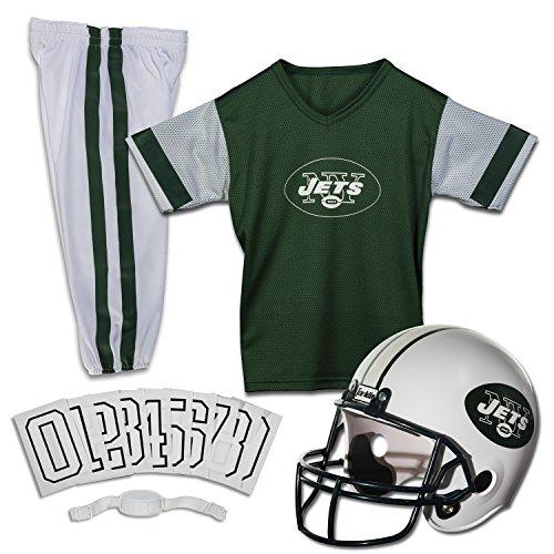 Franklin Sports New York Jets Kids Football Uniform Set - NFL Youth Football Costume for Boys & Girls - Set Includes Helmet, Jersey & Pants - Medium