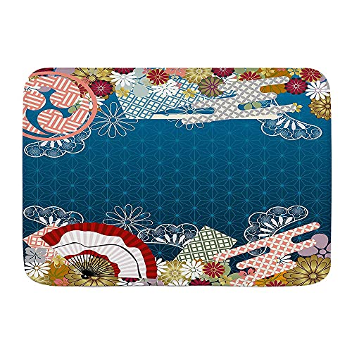 DECISAIYA Alfombra de Baño Arte asiático contemporáneo japonés con Flores abanicos de Mano sobre Fondo Azul Antideslizante Polyester Súper Suave Absorbente Tapete de Piso para Ducha,Cocina,Baño
