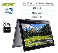 2020 Acer Chromebook Spin 15.6 コンバーチブル ノートパソコン ビジネスや学生用 Intel Pentium N4200 15.6インチ FHD タッチスクリーン、4GB DDR4、32GB eMMC、802.11ac、Chrome OS w/HESVAP アクセサリー (N4200)