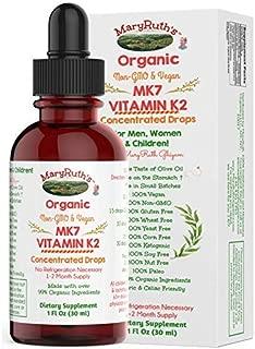 Organic Vitamin K2 (MK7) Liquid Drops by MaryRuth's Non-GMO Vegan Gluten Free Paleo, Ketogenic, Bariatric Friendly and Celiac Friendly. Soft Taste for Men, Women & Children 1oz Glass Bottle