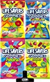 Life Savers Gummies By The Cup Pack; 4 flavors, 7 oz Bags 1 - Collision, 1 - Original 5 Flavor, 1 - Sour or Wild Berry, 1 - Neon or Exotic 7 oz Bags 1 - By The Cup Chip Clip - Polystyrene material, durable internal metal spring and solid gripper teet...