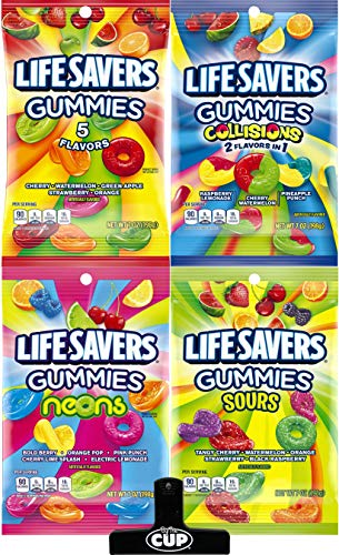 LifeSavers Gummies - 7 Ounce Peg Bag Variety (Pack of 4) with By The Cup Bag Clip