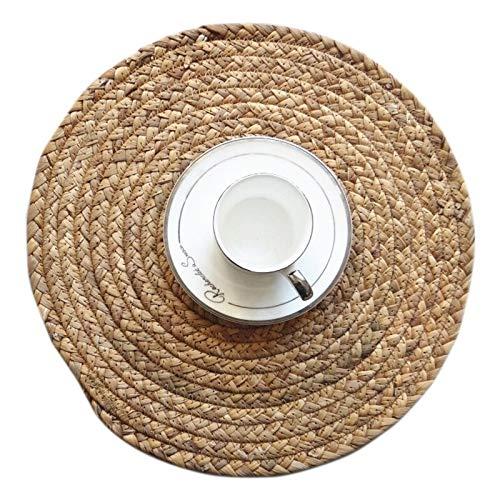 XUSHEN-HU Stroh geflochtene Runde Mat Isolierung Platzdeckchen for Speisetisch Kaffee Coaster Pad Bowl Hauptdekoration Zubehör Moderne Küche Bar (Size : Round 36CM)