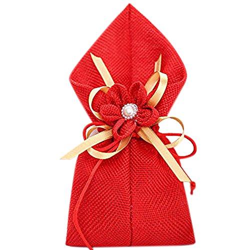 C.X.Y. 20x Sacchetto Portaconfetti Calle con Lino Tessuto Fiocco Fiore Bomboniera (Rosso)