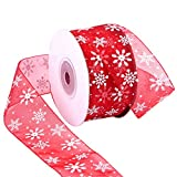 Livder 1.6 Inch Wide Christmas Snowflake Sheer Organza Ribbon for Xmas Gift Wrapping, Tree, Wreath, Party Decoration, 25 Yards (Red)