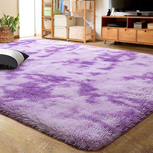 LOCHAS Luxury Velvet Shag Area Rug Modern Indoor Fluffy Rugs, Extra Comfy and Soft Carpet, Abstract Accent Rugs for Bedroom Living Room Dorm Home Girls Kids, 4x6 Feet Purple/White