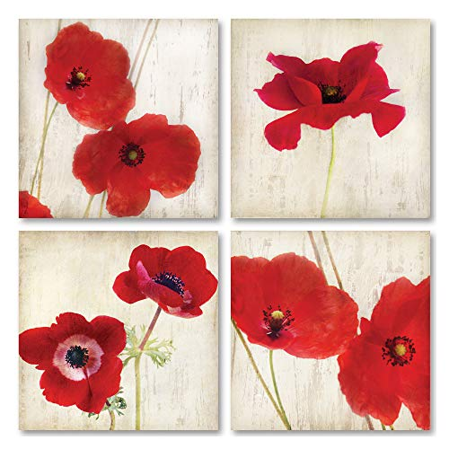 "Beautiful Bright Red California Poppies; Floral Decor; 4-12x12"" Unframed Paper Posters"